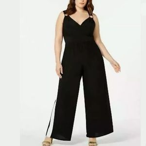 Love Squared 1X Sleeveless O Ring Jumpsuit Black